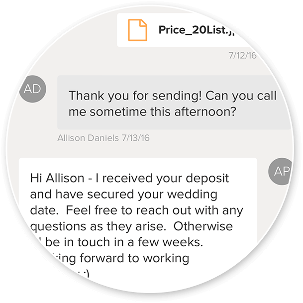 Preview of an exchange with a client using the messages feature, including an uploaded attachment, in the WeddingWire My Clients Manager app