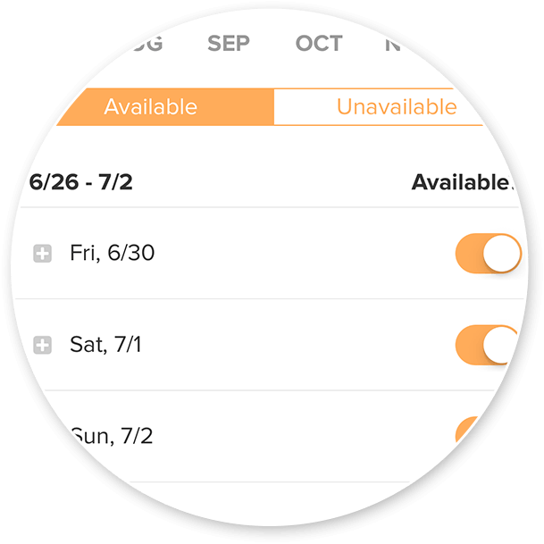 Preview of the on and off switches for different days in the availability feature in the WeddingWire My Clients Manager app (open to select categories only)