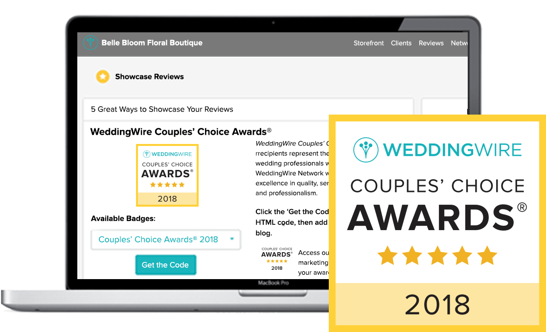 Graphic of a laptop showing the Reviews tab of the WeddingWire vendor dashboard, and the 2018 Couples' Choice Award badge