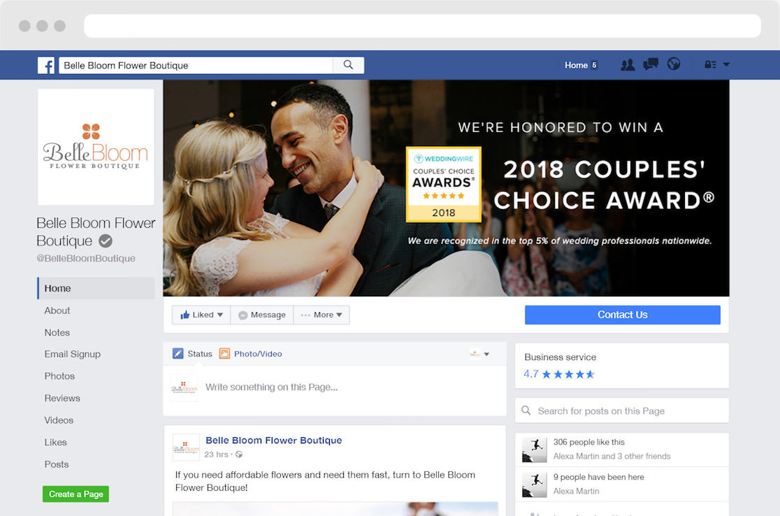 Preview of the WeddingWire 2018 Couples' Choice Award winner's Facebook cover photo on a business account