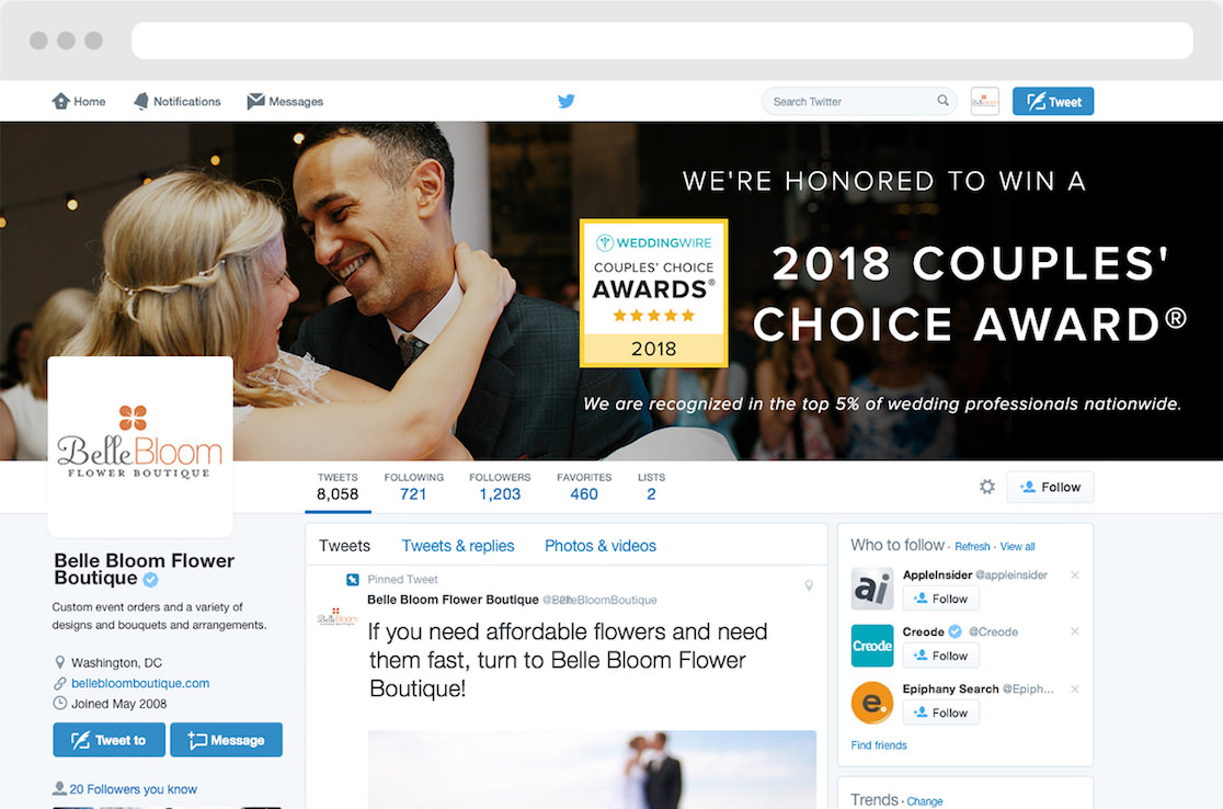 Preview of the WeddingWire 2018 Couples' Choice Award winner's Twitter cover photo live on an account