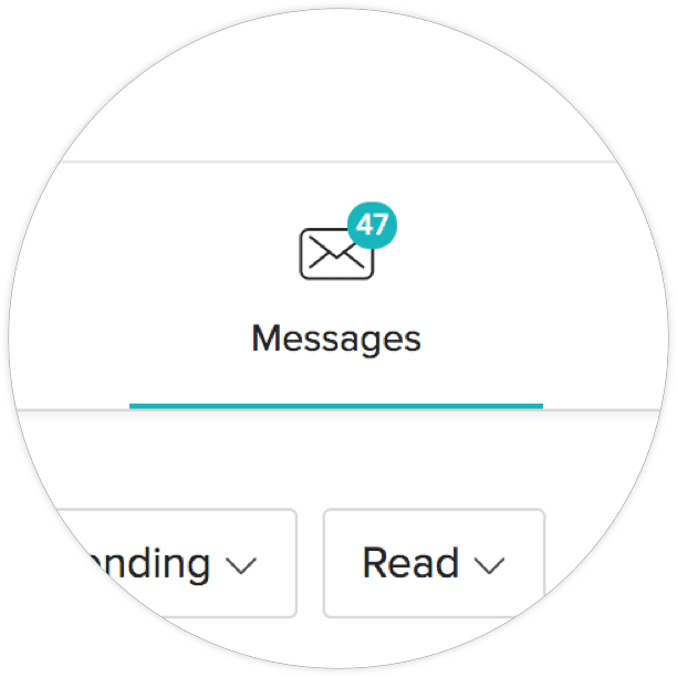 Zoom to show notifications icon on Messages screen