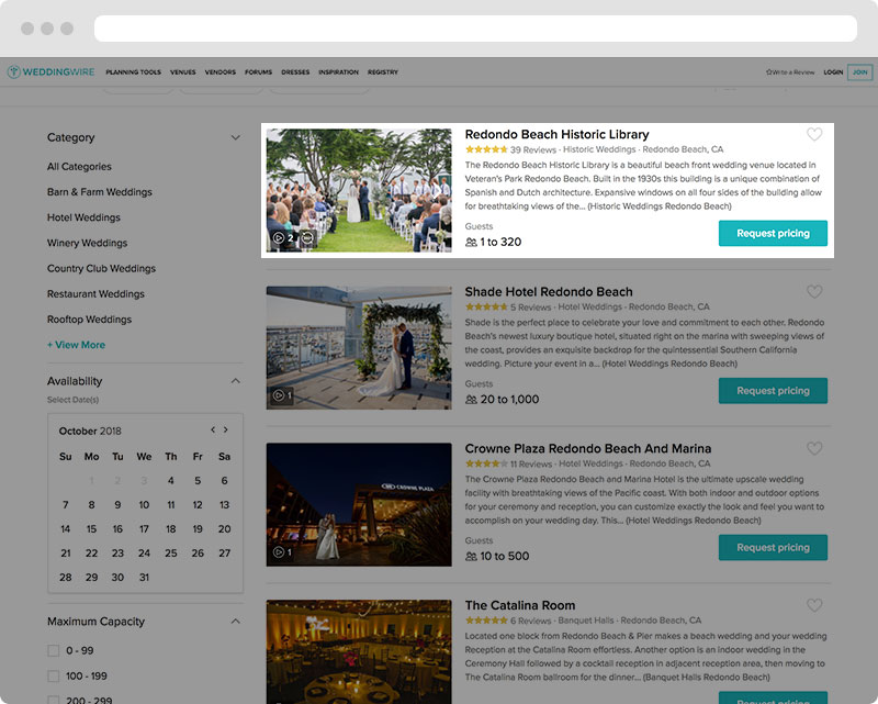Vendor directory search with 360° Virtual Tours icon on top of listing image