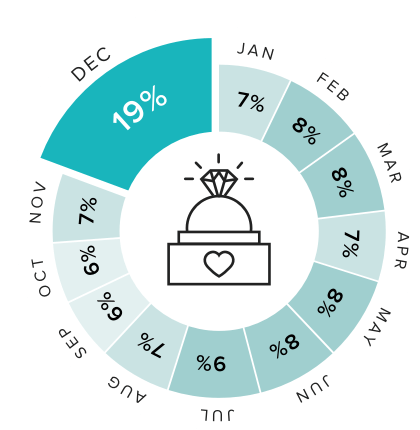 pie chart showing the percentage of engagements that occur each month, with December highlighted as the month with the highest percentage (19%). Other months' percentages are: January - 7%, February - 8%, March - 8%, April - 7%, May - 8%, June - 8%, July - 9%, August - 7%, September - 6%, October - 6%, November - 7%.