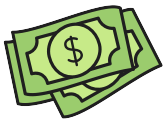 sticker-style icon of a handful of dollar bills