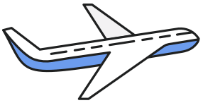 sticker-style icon of a large passenger airplane