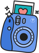 sticker-style icon of a polaroid-type camera printing out a photo, accompanied by sparkles