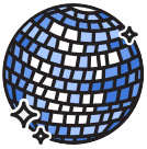 sticker-style icon of a sparkling disco ball