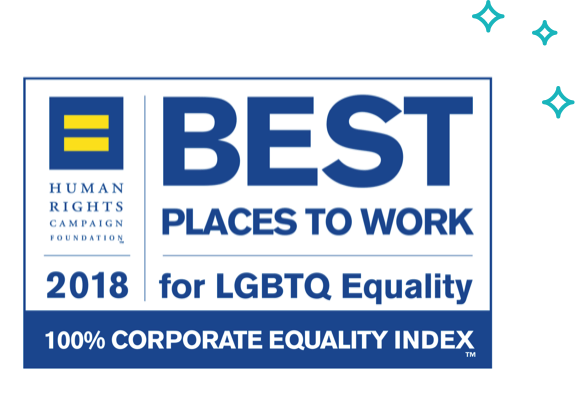 badge for the Human Rights Campaign Foundation's 2018 Best Places to Work for LGBTQ Equality 100% corporate equality index